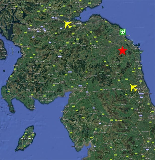 Satellite map of the north east and southern scotland
